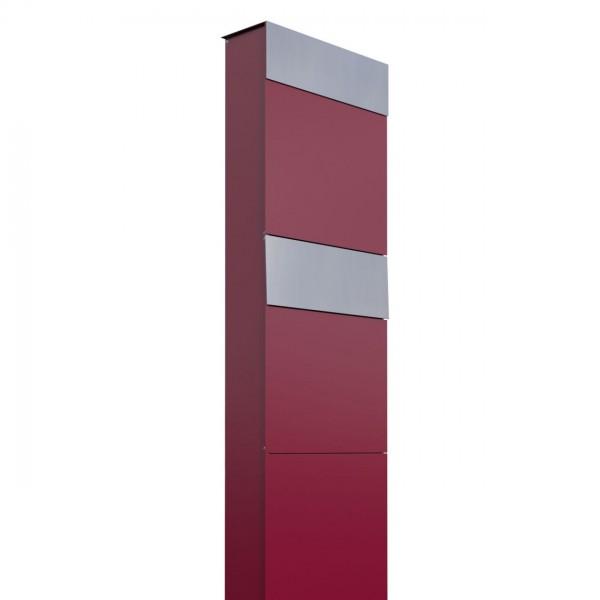 Boîtes aux lettres The Box pour deux Rouge avec rabat en acier inoxydable
