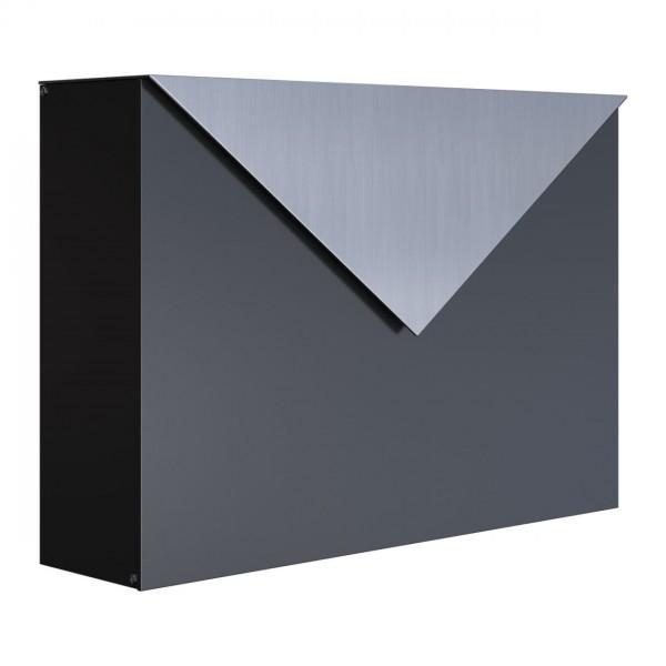 """Boite aux Lettres """"The Letter"""" Noire avec rabat en acier inoxydable"""
