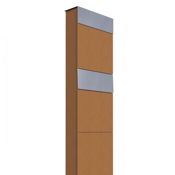 Boîtes aux lettres The Box pour deux Rouille avec rabat en acier inoxydable