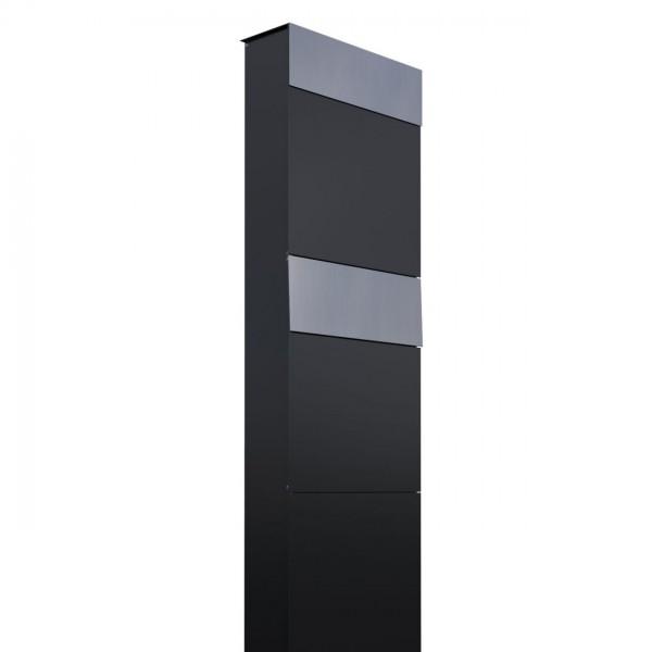 Boîtes aux lettres The Box pour deux Noire avec rabat en acier inoxydable