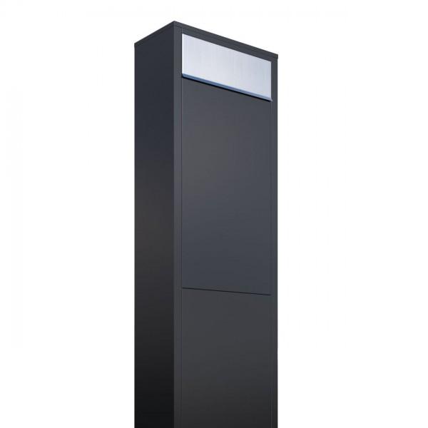 Boîte Aux Lettres Sur Pieds Big Box Noire Avec Rabat En Acier Inoxydable