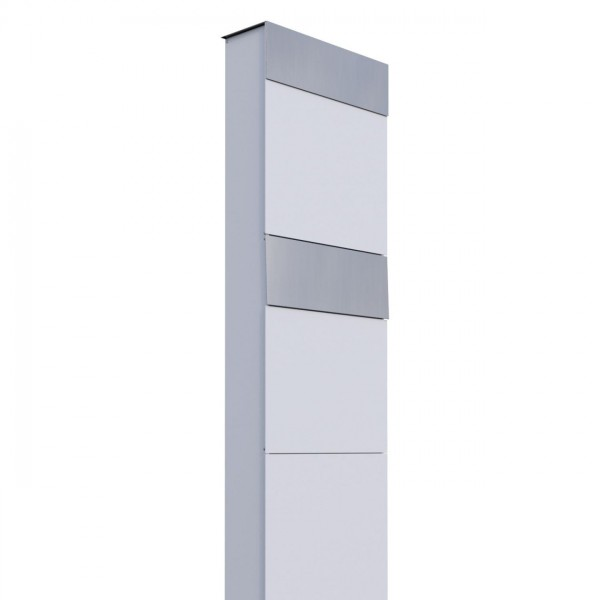 Boîtes aux lettres The Box pour deux Blanche avec rabat en acier inoxydable