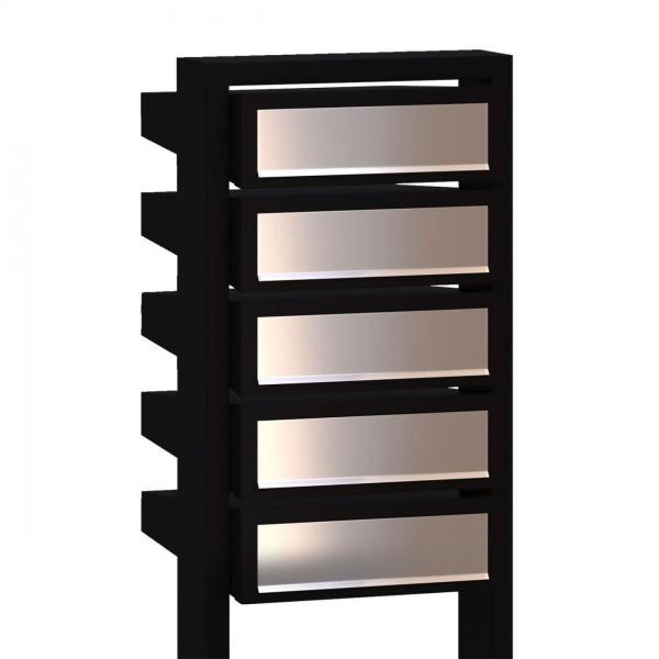 Boîtes aux lettres Stairs pour cing Noire avec rabat en acier inoxydable